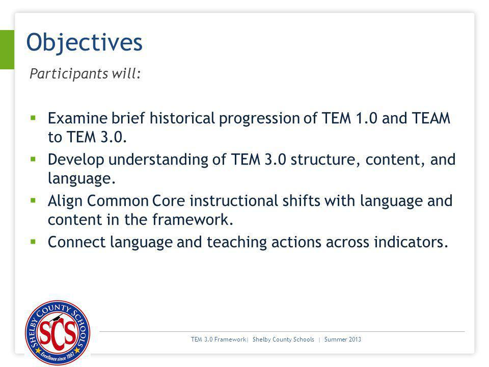 TEM 3.0 Framework| Shelby County Schools | Summer 2013 Objectives Participants will: Examine brief historical progression of TEM 1.0 and TEAM to TEM 3.0.