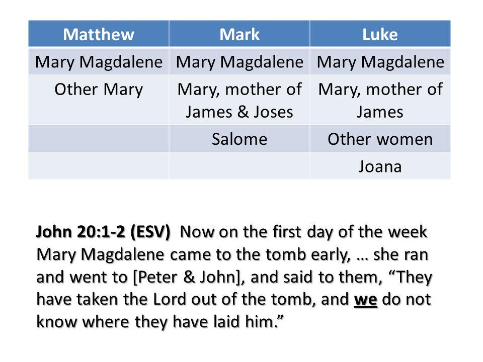 MatthewMarkLuke Mary Magdalene Other MaryMary, mother of James & Joses Mary, mother of James SalomeOther women Joana John 20:1-2 (ESV) Now on the firs