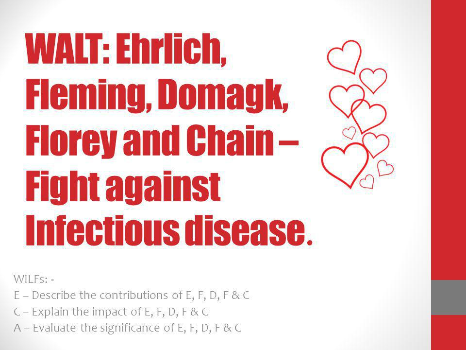 WALT: Ehrlich, Fleming, Domagk, Florey and Chain – Fight against Infectious disease.