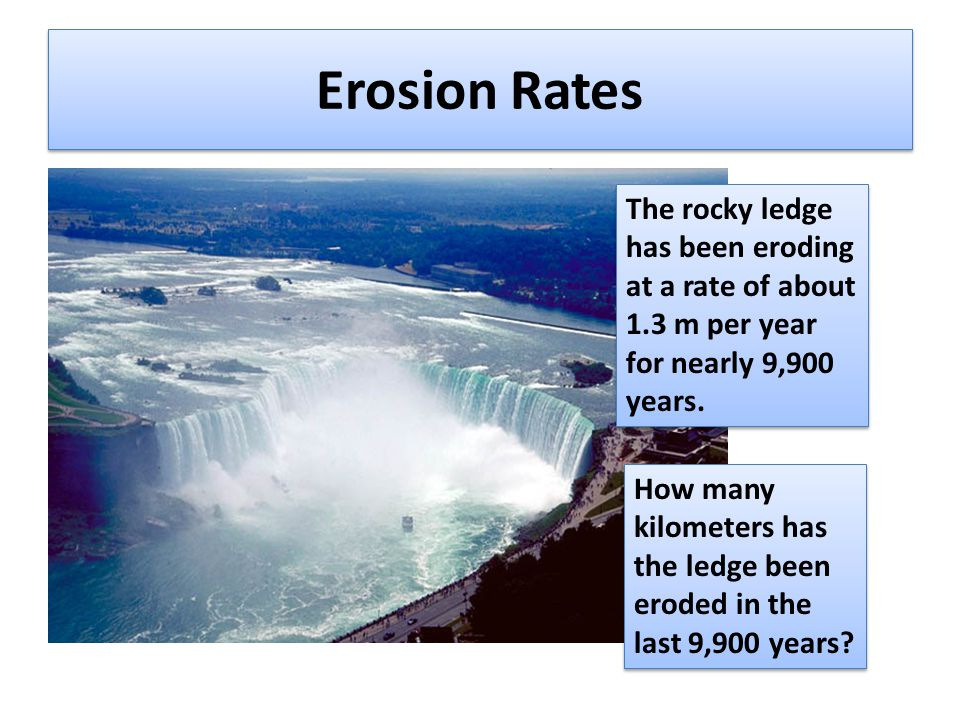 Erosion Rates The rocky ledge has been eroding at a rate of about 1.3 m per year for nearly 9,900 years.