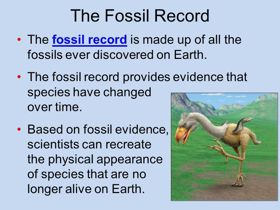 The Fossil Record Record of ancient life preserved as fossils in rocks –Repository of prehistoric organisms that provides our only knowledge of such extinct animals as trilobites and dinosaurs –Demonstrates how species have evolved over time