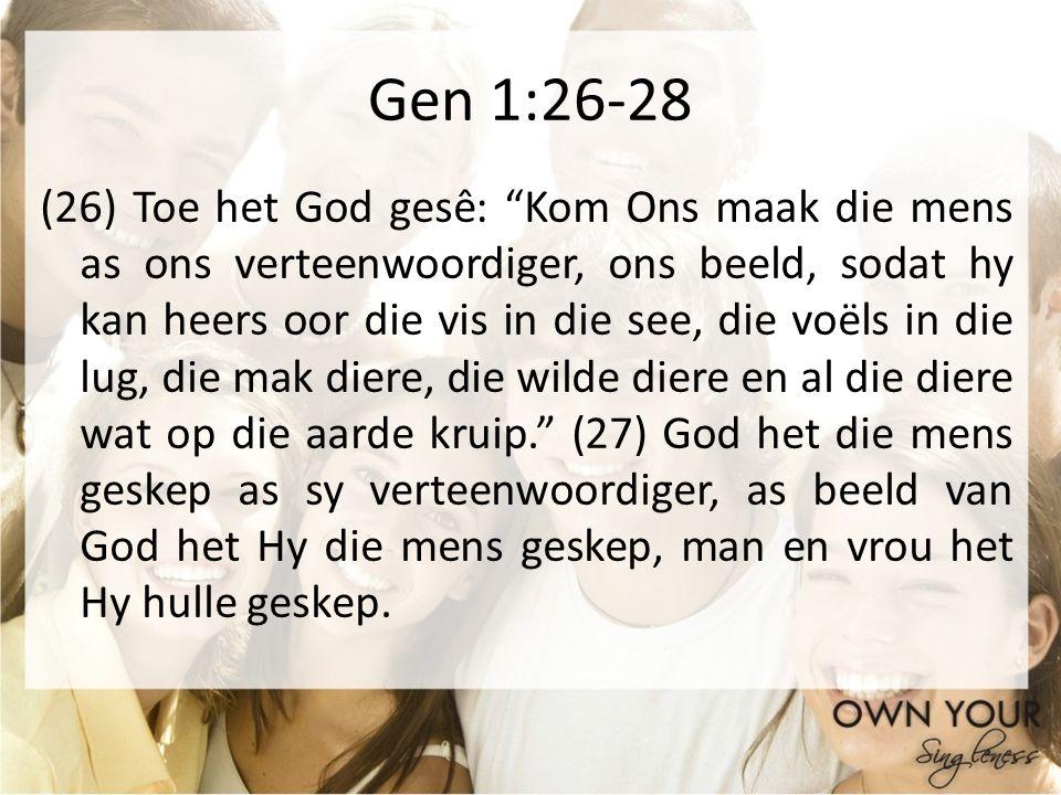 Gen 1:26-28 (26) Toe het God gesê: Kom Ons maak die mens as ons verteenwoordiger, ons beeld, sodat hy kan heers oor die vis in die see, die voëls in d