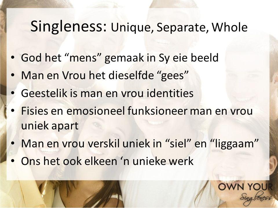 Singleness: Unique, Separate, Whole God het mens gemaak in Sy eie beeld Man en Vrou het dieselfde gees Geestelik is man en vrou identities Fisies en e