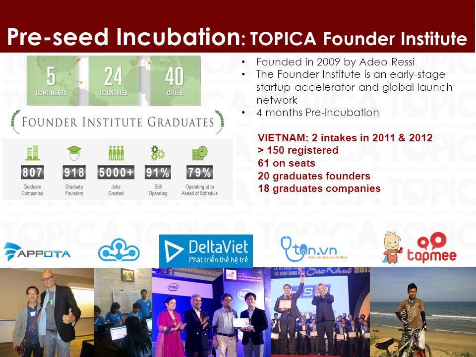 9 Pre-seed Incubation : TOPICA Founder Institute Founded in 2009 by Adeo Ressi The Founder Institute is an early-stage startup accelerator and global launch network 4 months Pre-incubation VIETNAM: 2 intakes in 2011 & 2012 > 150 registered 61 on seats 20 graduates founders 18 graduates companies