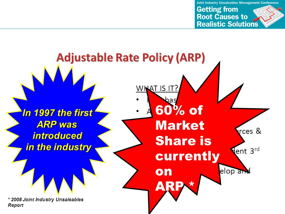 Adjustable Rate Policy (ARP) WHAT IS IT? Rate based policy Assessments of supply chain damage & root cause Requires substantial resources & investment
