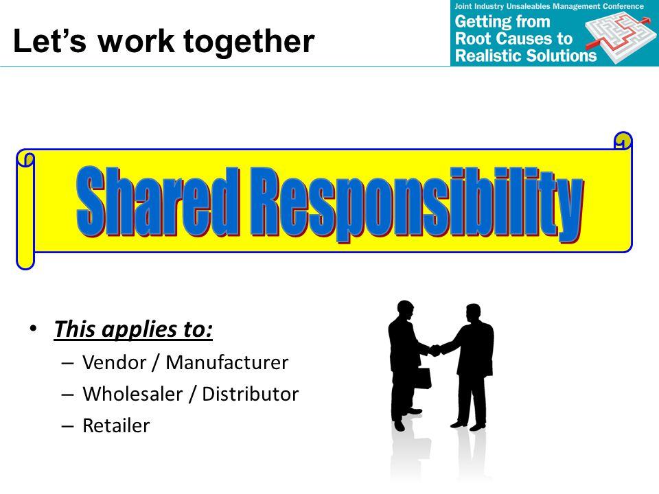 This applies to: – Vendor / Manufacturer – Wholesaler / Distributor – Retailer Lets work together