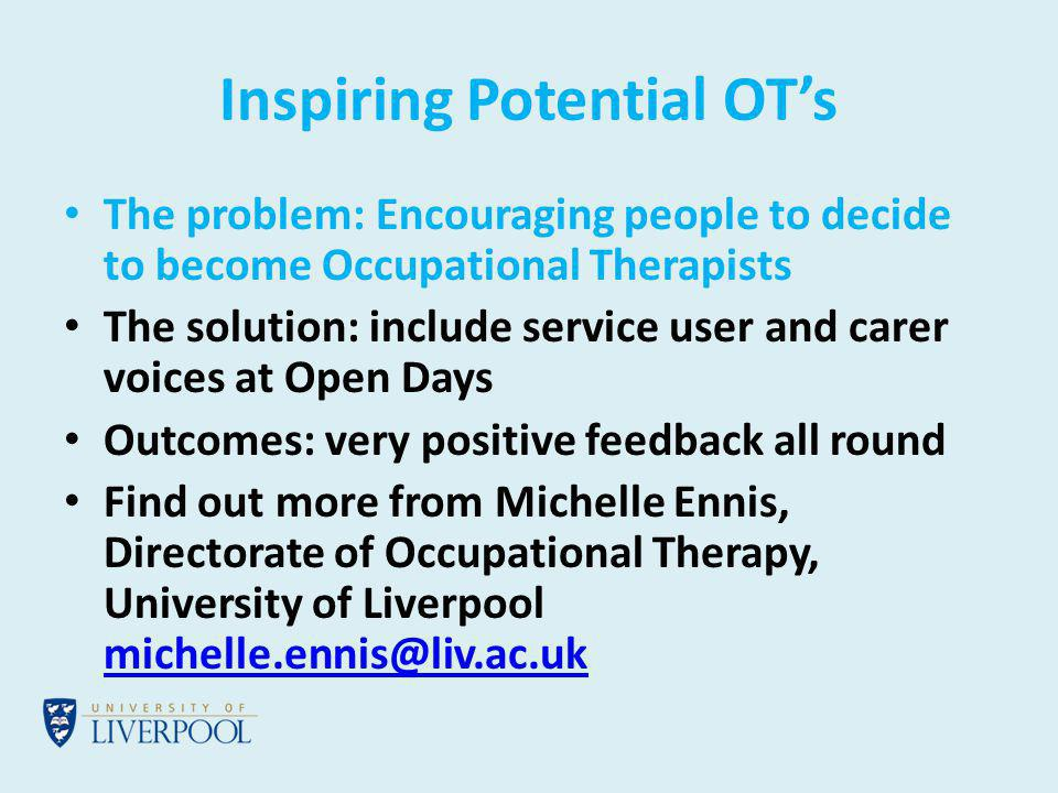 Recruiting Nursing Students Together at the University of Chester Problem: recruiting the best student nurses Solution: interview in partnership with service users and carers Find out more from Diane Phipps, Department of Mental Health and Learning Difficulties, Faculty of Health and Social Care, University of Chester d.phipps@chester.ac.ukd.phipps@chester.ac.uk