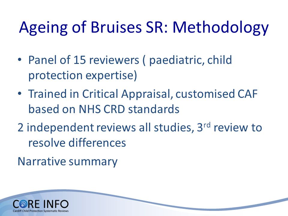 Included 3 ASSIA 1987-2010 Caredata 1980-2010 Child Data 1958-2010 CINAHL 1982-2010 Embase 1980-2010 ISI Proceedings 1990-2007 Medline1950-2010 Ovid MEDLINE In-Process & Other Non-Indexed Citations May 2010 Science Citation Index1981-2010 SIGLE1980-2010 Social Science Citation Index 1981-2010 TRIP database1997-2010 Hand search of text books Hand search of all articles identified from other sources Scanning total titles & abstract for duplicates and relevancy 8102 Total articles reviewed 187 Translated 14 3 rd Review 80