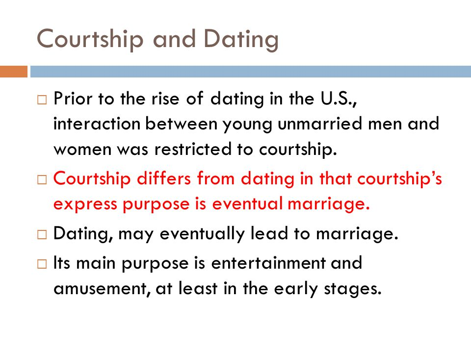 Courtship and Dating Prior to the rise of dating in the U.S., interaction between young unmarried men and women was restricted to courtship.