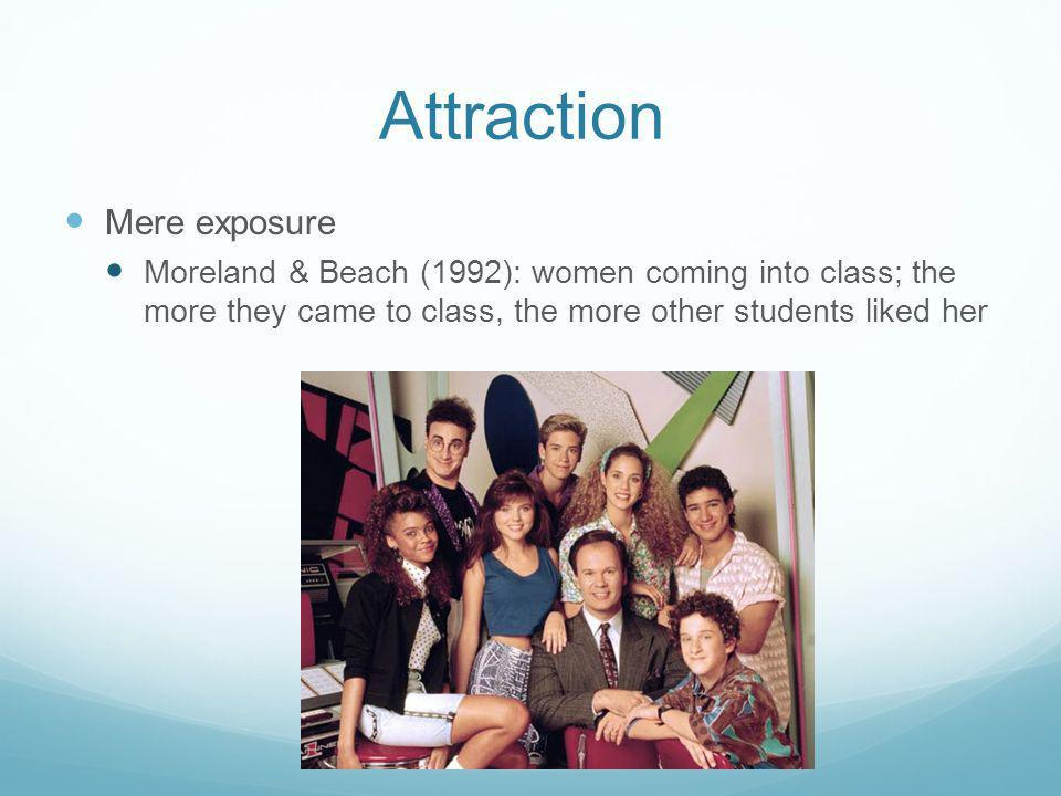 Attraction Mere exposure Moreland & Beach (1992): women coming into class; the more they came to class, the more other students liked her