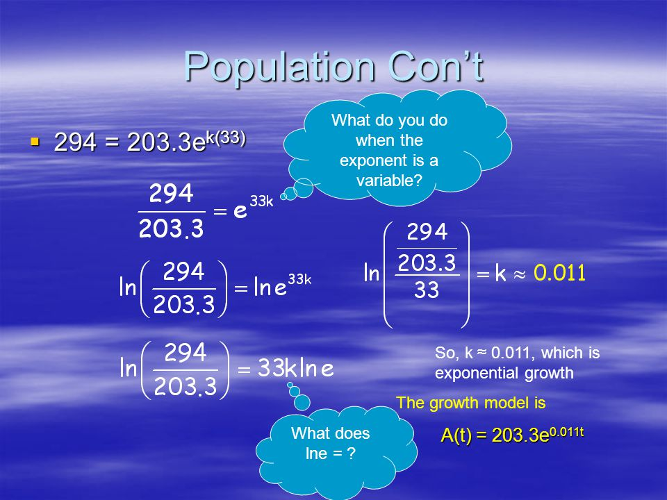 Population Model t is the number of years after 1970.