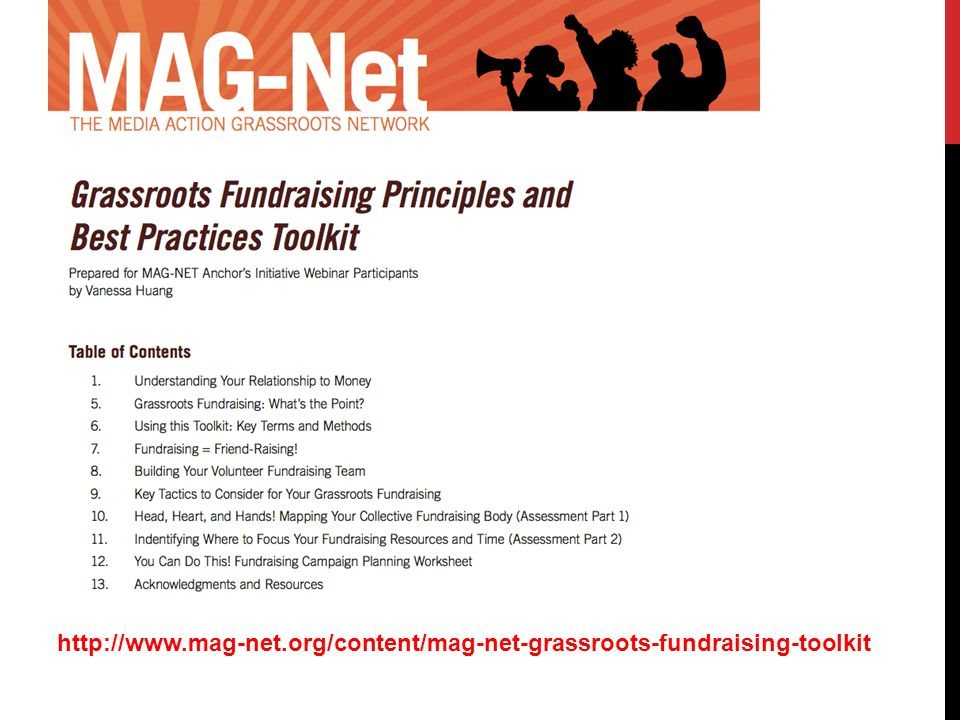 http://www.mag-net.org/content/mag-net-grassroots-fundraising-toolkit