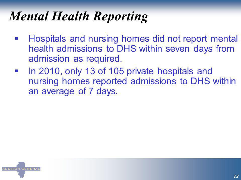 Mental Health Reporting 12 Hospitals and nursing homes did not report mental health admissions to DHS within seven days from admission as required.