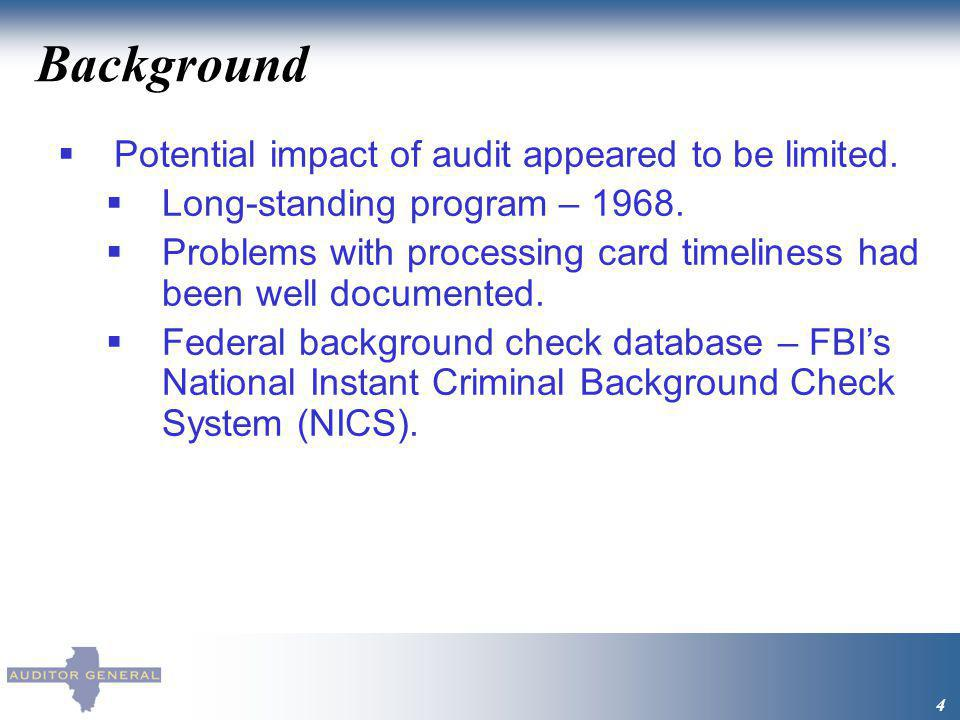 Background 4 Potential impact of audit appeared to be limited. Long-standing program – 1968. Problems with processing card timeliness had been well do
