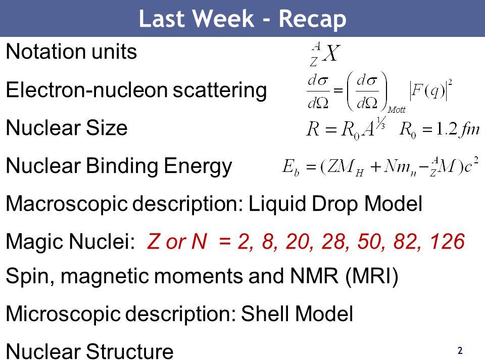 2 Last Week - Recap Notation units Electron-nucleon scattering Nuclear Size Nuclear Binding Energy Macroscopic description: Liquid Drop Model Magic Nu