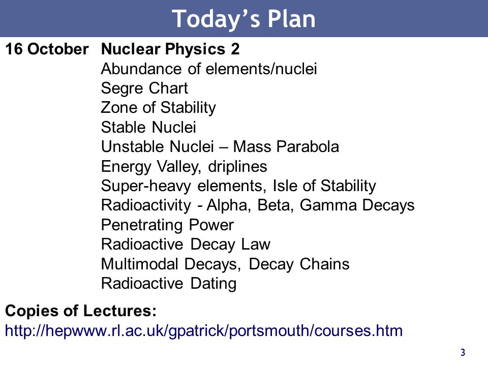 3 Todays Plan 16 October Nuclear Physics 2 Abundance of elements/nuclei Segre Chart Zone of Stability Stable Nuclei Unstable Nuclei – Mass Parabola En