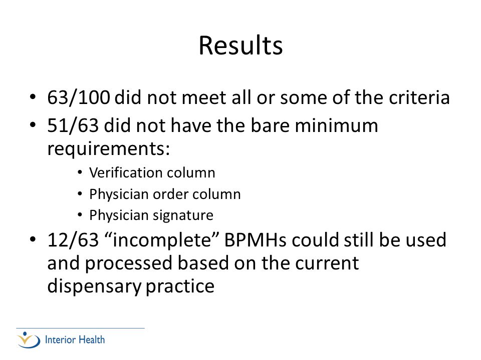 Results 63/100 did not meet all or some of the criteria 51/63 did not have the bare minimum requirements: Verification column Physician order column P