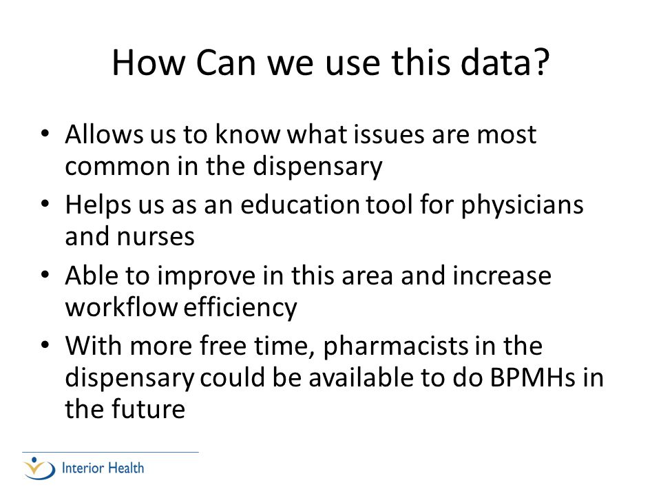 How Can we use this data? Allows us to know what issues are most common in the dispensary Helps us as an education tool for physicians and nurses Able