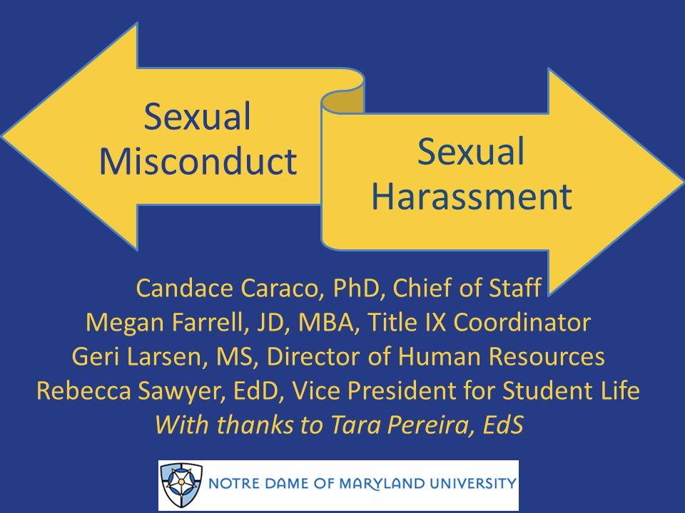 Sexual Misconduct Sexual Harassment Candace Caraco, PhD, Chief of Staff Megan Farrell, JD, MBA, Title IX Coordinator Geri Larsen, MS, Director of Huma
