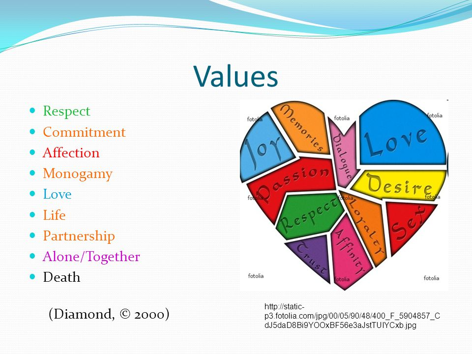 Values Respect Commitment Affection Monogamy Love Life Partnership Alone/Together Death http://static- p3.fotolia.com/jpg/00/05/90/48/400_F_5904857_C
