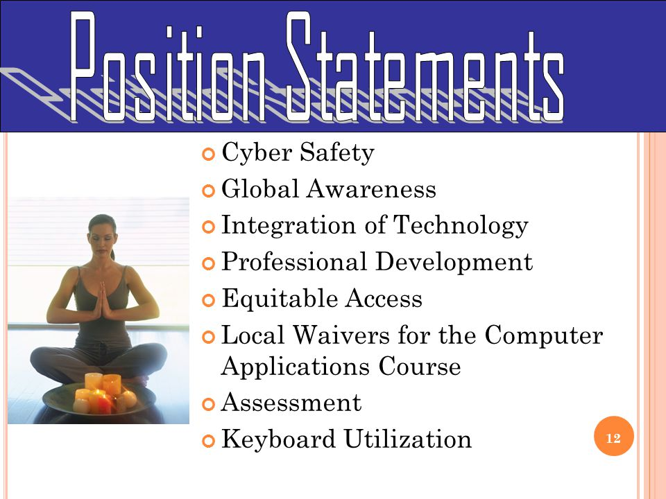 12 Cyber Safety Global Awareness Integration of Technology Professional Development Equitable Access Local Waivers for the Computer Applications Course Assessment Keyboard Utilization
