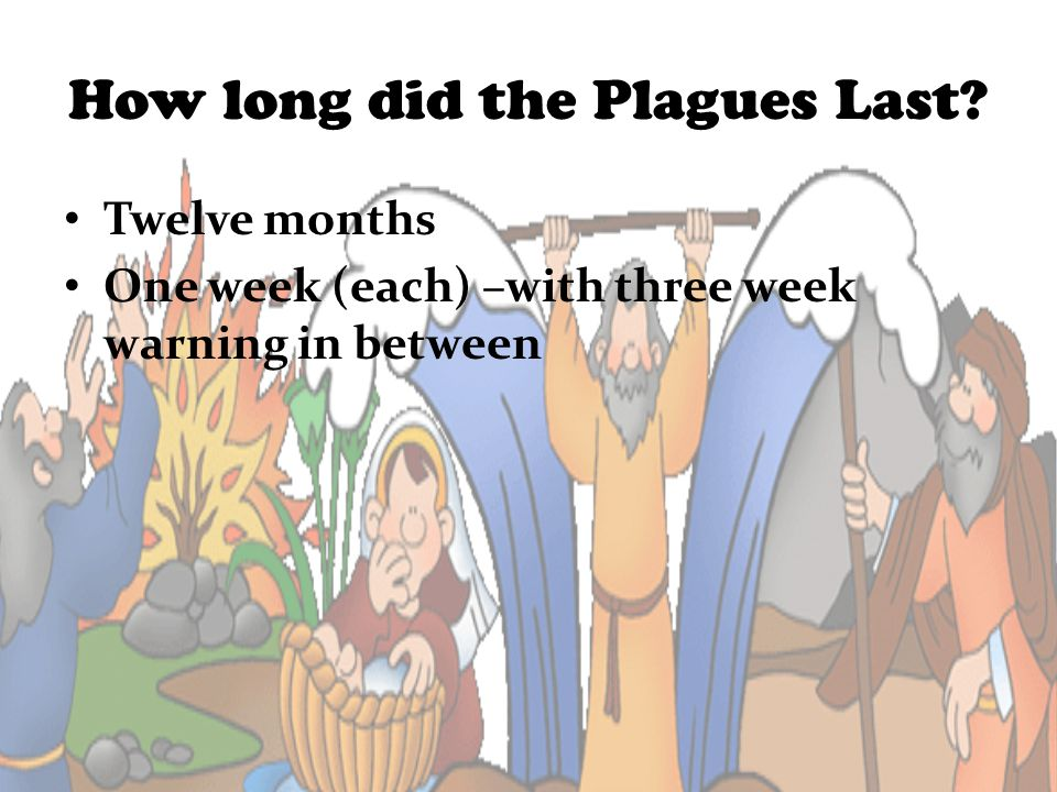 How long did the Plagues Last? Twelve months One week (each) –with three week warning in between