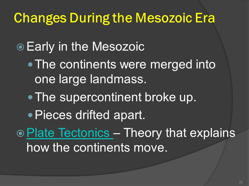 Changes During the Mesozoic Era Early in the Mesozoic The continents were merged into one large landmass. The supercontinent broke up. Pieces drifted