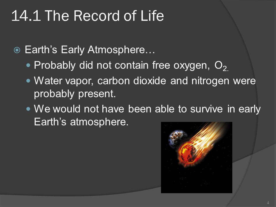 14.1 The Record of Life Earths Early Atmosphere… Probably did not contain free oxygen, O 2. Water vapor, carbon dioxide and nitrogen were probably pre