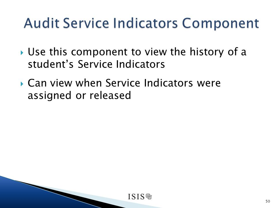 Use this component to view the history of a students Service Indicators Can view when Service Indicators were assigned or released 50