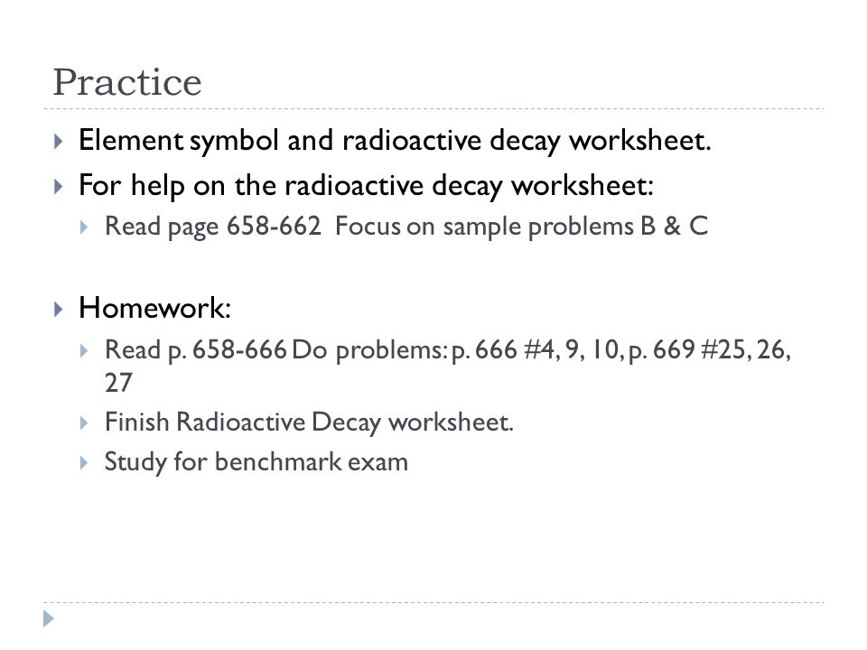 Practice Element symbol and radioactive decay worksheet.
