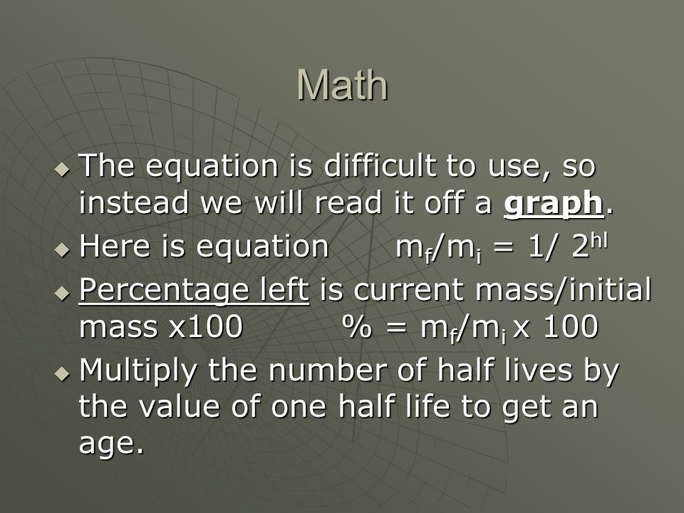 Math The equation is difficult to use, so instead we will read it off a graph. The equation is difficult to use, so instead we will read it off a grap