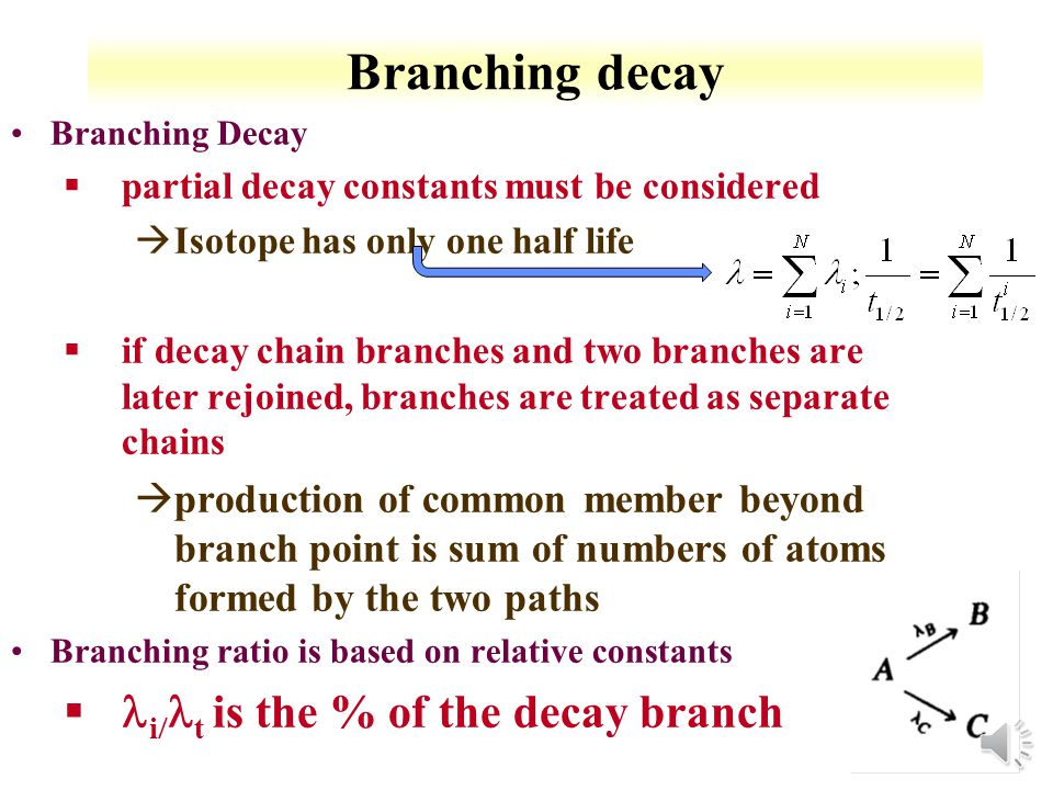 3-9 Many Decays Can use the Bateman solution to calculate entire chain Bateman assumes only parent present at time 0 Program for Bateman http://www.ergoffice.com/downloads.aspx