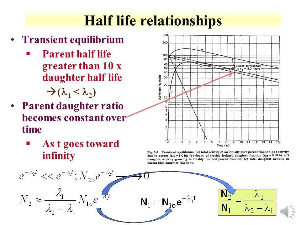 3-6 Half life relationships Can simplify relative activities based on half life relationships No daughter decay §No activity from daughter §Number of daughter atoms due to parent decay Daughter Radioactive No Equilibrium §If parent is shorter-lived than daughter ( 1 2 ) àno equilibrium attained at any time §Daughter reaches maximum activity when 1 N 1 = 2 N 2 àAll parents decay, then decay is based on daughter