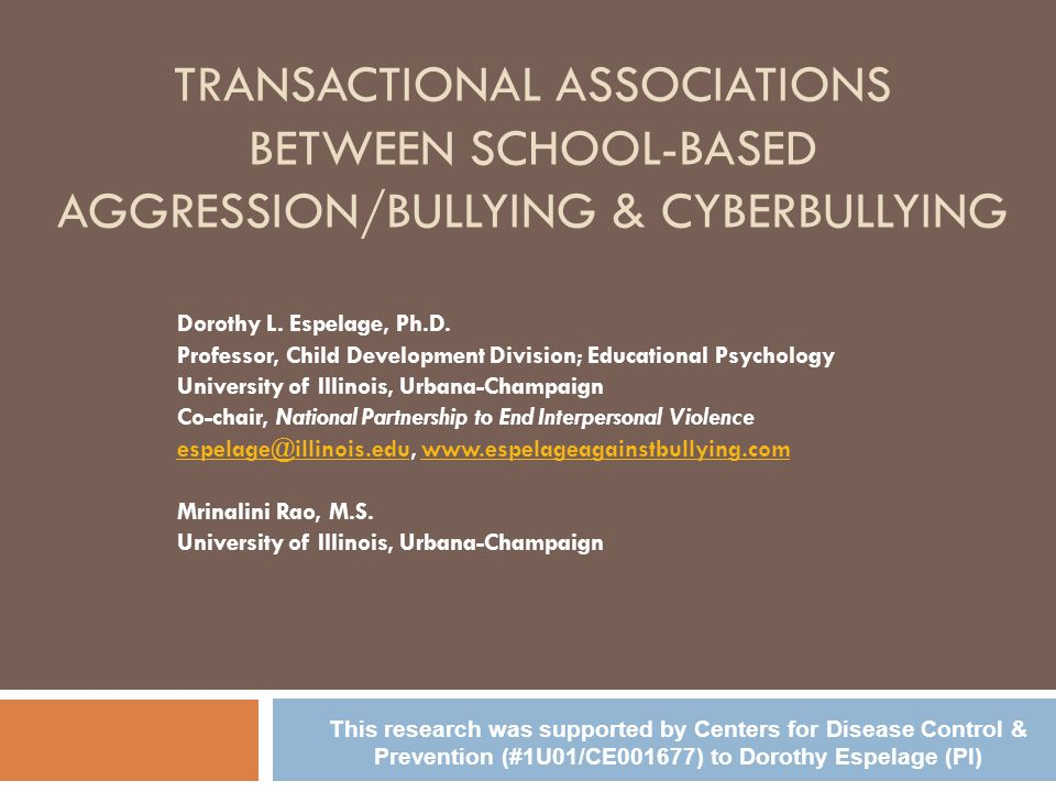 TRANSACTIONAL ASSOCIATIONS BETWEEN SCHOOL-BASED AGGRESSION/BULLYING & CYBERBULLYING Dorothy L.