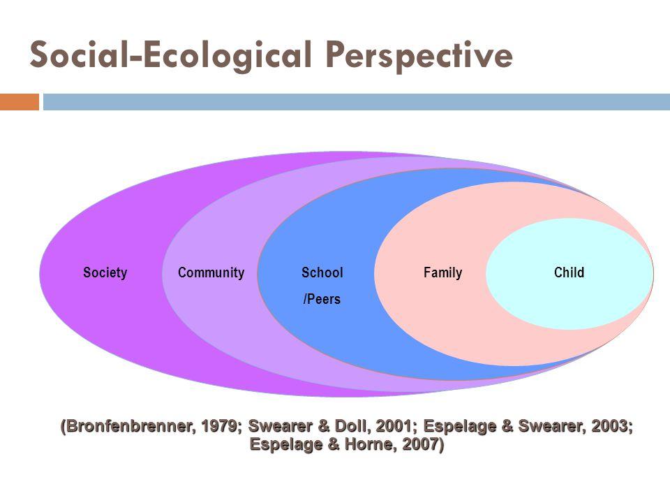Social-Ecological Perspective CommunitySchool /Peers FamilyChildSociety (Bronfenbrenner, 1979; Swearer & Doll, 2001; Espelage & Swearer, 2003; Espelag