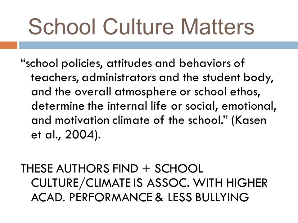 School Culture Matters school policies, attitudes and behaviors of teachers, administrators and the student body, and the overall atmosphere or school ethos, determine the internal life or social, emotional, and motivation climate of the school.