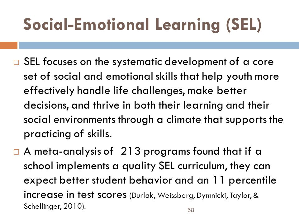 Social-Emotional Learning (SEL) SEL focuses on the systematic development of a core set of social and emotional skills that help youth more effectively handle life challenges, make better decisions, and thrive in both their learning and their social environments through a climate that supports the practicing of skills.