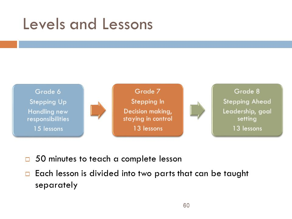 Levels and Lessons 60 50 minutes to teach a complete lesson Each lesson is divided into two parts that can be taught separately Grade 6 Stepping Up Handling new responsibilities 15 lessons Grade 7 Stepping In Decision making, staying in control 13 lessons Grade 8 Stepping Ahead Leadership, goal setting 13 lessons