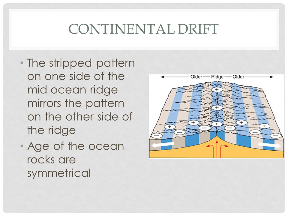 CONTINENTAL DRIFT The stripped pattern on one side of the mid ocean ridge mirrors the pattern on the other side of the ridge Age of the ocean rocks are symmetrical