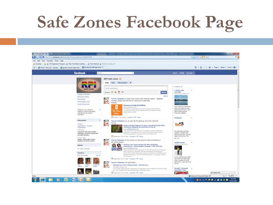 Safe Zones Facebook Page