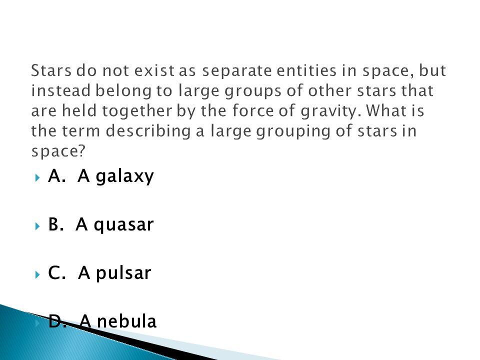 A. A galaxy B. A quasar C. A pulsar D. A nebula