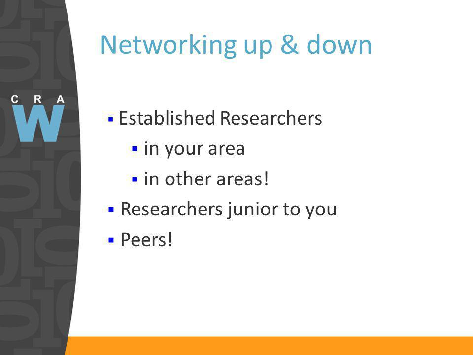 Networking up & down Established Researchers in your area in other areas.