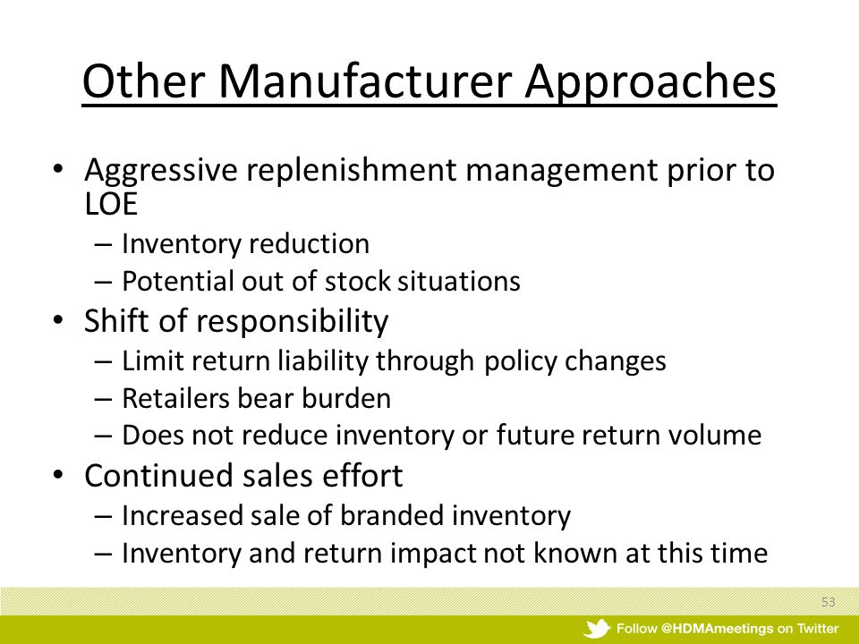 Aggressive replenishment management prior to LOE – Inventory reduction – Potential out of stock situations Shift of responsibility – Limit return liability through policy changes – Retailers bear burden – Does not reduce inventory or future return volume Continued sales effort – Increased sale of branded inventory – Inventory and return impact not known at this time 53 Other Manufacturer Approaches