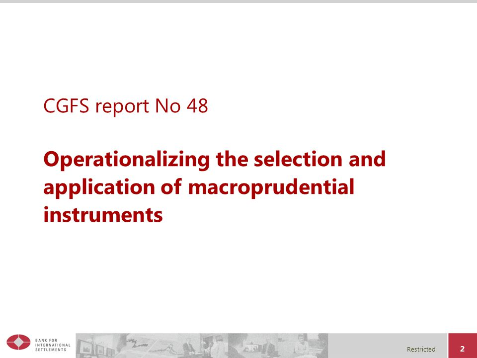Restricted 2 CGFS report No 48 Operationalizing the selection and application of macroprudential instruments