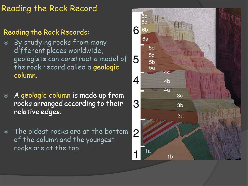 Reading the Rock Record Reading the Rock Records: By studying rocks from many different places worldwide, geologists can construct a model of the rock