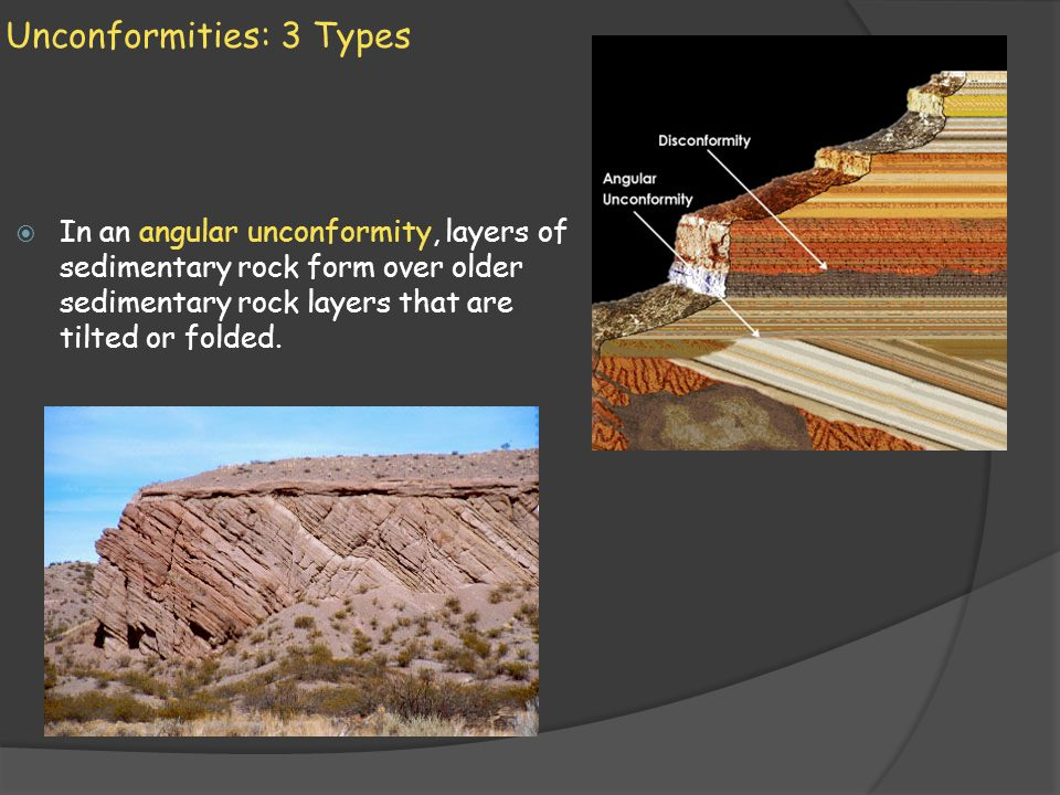 Unconformities: 3 Types In an angular unconformity, layers of sedimentary rock form over older sedimentary rock layers that are tilted or folded.