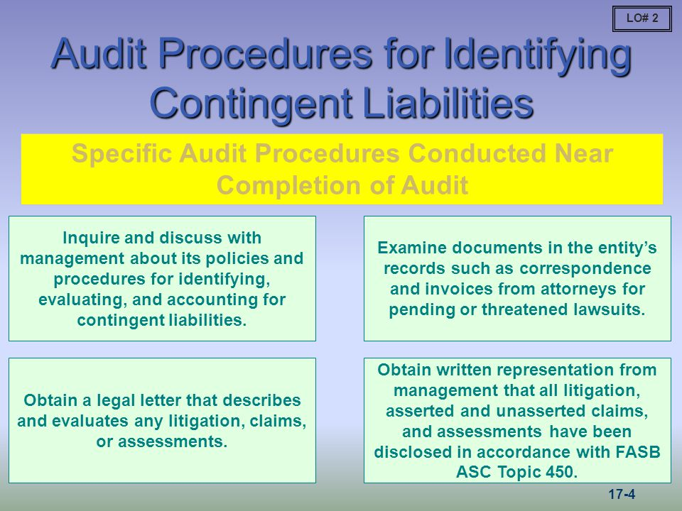 Audit Procedures for Identifying Contingent Liabilities Inquire and discuss with management about its policies and procedures for identifying, evaluating, and accounting for contingent liabilities.