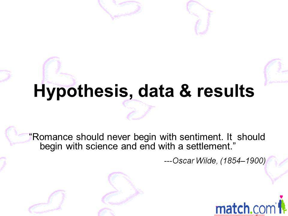 Hypothesis, data & results Romance should never begin with sentiment.