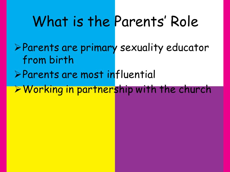 What is the Parents Role Parents are primary sexuality educator from birth Parents are most influential Working in partnership with the church