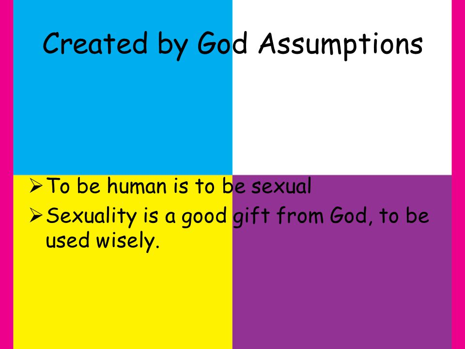 Created by God Assumptions To be human is to be sexual Sexuality is a good gift from God, to be used wisely.